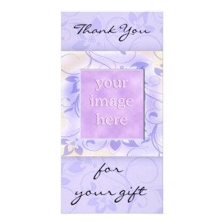 Elegant Purple Wedding Thank You Custom Photo Card