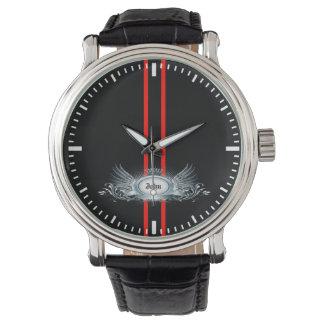 Elegant Racing Stripes Personalized Men's Watch