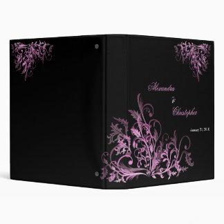 Elegant Retro Cyclam Hot Pink Flower Swirls Vinyl Binder