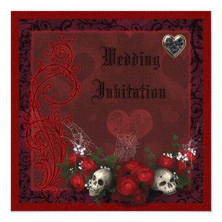 """Elegant Skulls, Roses & Hearts Linen Wedding 5.25"""" Square Invitation Card"""