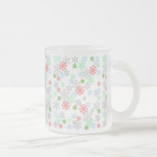 Elegant Snowflakes 10 Oz Frosted Glass Coffee Mug