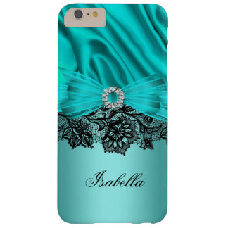 Elegant Turquoise Teal Blue Jewel Black Lace Barely There iPhone 6 Plus Case