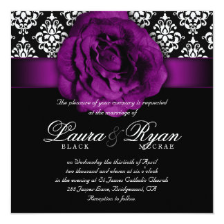 "Elegant Wedding Damask Purple Rose Black White 5.25"" Square Invitation Card"