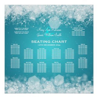 Elegant Wedding Seating Chart Sparkling Night Blue Poster