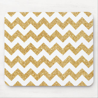 Elegant White Gold Glitter Zigzag Chevron Pattern Mouse Pad
