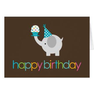 Elephant and Cupcake Birthday Greeting Cards