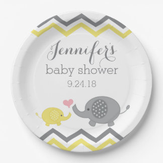 Elephant Baby Shower Plates | Yellow Gray Chevron 9 Inch Paper Plate