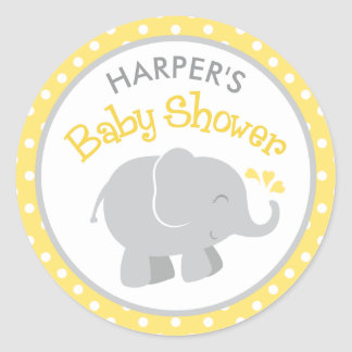 Elephant Baby Shower Stickers | Yellow and Gray