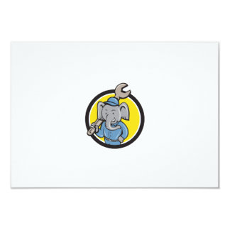 "Elephant Mechanic Spanner Shoulder Circle Cartoon 3.5"" X 5"" Invitation Card"