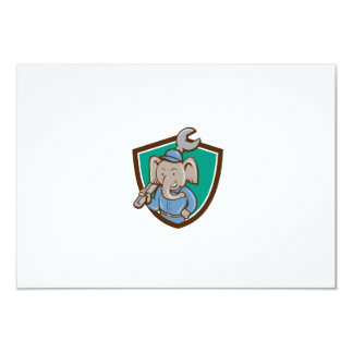 "Elephant Mechanic Spanner Shoulder Crest Cartoon 3.5"" X 5"" Invitation Card"