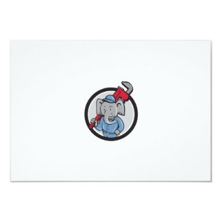 "Elephant Plumber Monkey Wrench Circle Cartoon 3.5"" X 5"" Invitation Card"