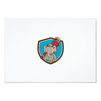 "Elephant Plumber Monkey Wrench Crest Cartoon 3.5"" X 5"" Invitation Card"