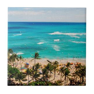 Elevated View Of Waikiki Beach Scene, Honolulu 2 Ceramic Tile