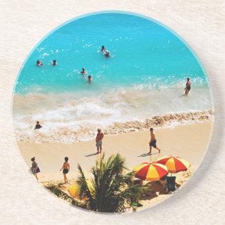 Elevated View Of Waikiki Beach Scene, Honolulu Drink Coaster