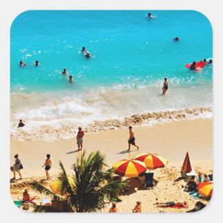 Elevated View Of Waikiki Beach Scene, Honolulu Square Sticker