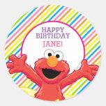 Elmo Girl's Birthday Round Sticker