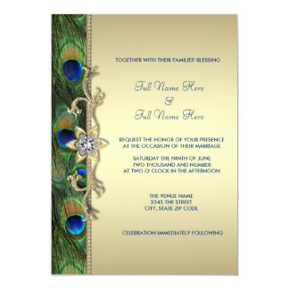 "Emerald Green and Gold Peacock Wedding 5"" X 7"" Invitation Card"
