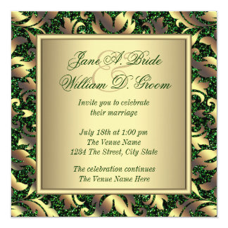 "Emerald Green and Gold Wedding 5.25"" Square Invitation Card"