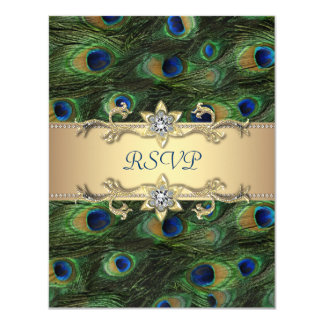 "Emerald Green Gold Royal Indian Peacock Wedding 4.25"" X 5.5"" Invitation Card"