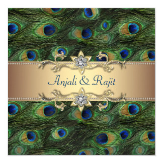 "Emerald Green Gold Royal Indian Peacock Wedding 5.25"" Square Invitation Card"