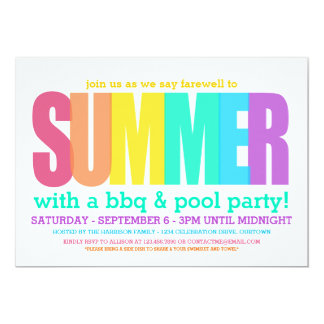 """End of Summer Party 5"""" X 7"""" Invitation Card"""