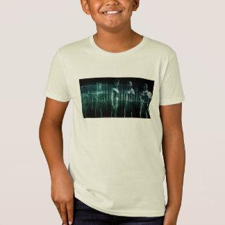 Équipe d'affaires avec l'expression sérieuse t shirts