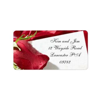 étiquette de adresse de mariage de rose rouge