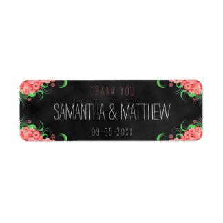 Étiquettes floraux de faveur de mariage de tableau étiquette d'adresse retour