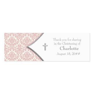 Étiquettes roses de Bomboniere de croix de damassé Carte De Visite Petit Format