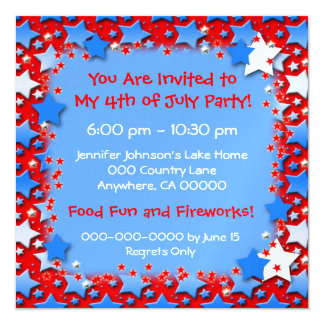Étoiles bleues de blanc sur le rouge carton d'invitation  13,33 cm