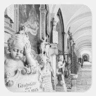Europe, Austria, Salzburg. Cherub and monument Square Sticker