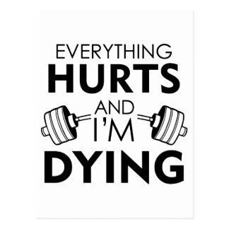 Everything Hurts Gym Black Postcard