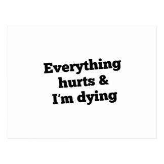Everything Hurts Slant Black Postcard