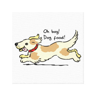 Excited for food pet dog illustration gallery wrapped canvas