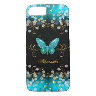 Exotic Teal Blue Gold Black Butterfly Sparkles iPhone 7 Case