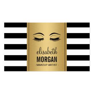 Eyelashes Makeup Logo Gold Black White Stripes Business Card