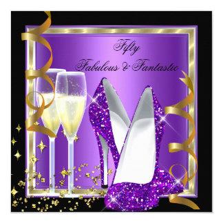 "Fabulous 50 Fantastic Purple Black Gold Party 5.25"" Square Invitation Card"