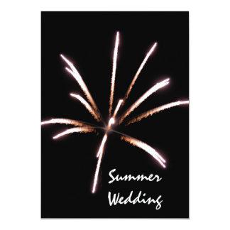 Faire-part de mariage d'été de feux d'artifice