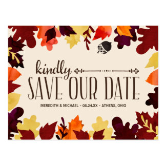 Fall Colors | Rustic Vintage Save the Date Postcard