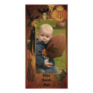 Fall Halloween Picture Frame Design Photo Card Template