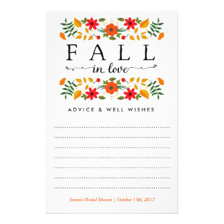 Fall In Love, Bridal Shower Advice Cards Personalized Flyer