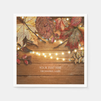 Fall Leaves & String Lights on Rustic Wood Disposable Napkin
