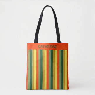 Fall Spice Palette Stripes Personalized Tote Bag