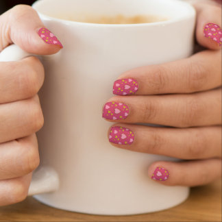 Fancy Pink and Gold Hearts Minx Nail Art
