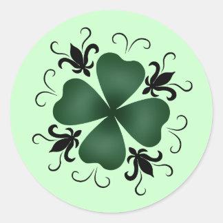 Fancy victorian shamrock St Patricks Day Round Sticker