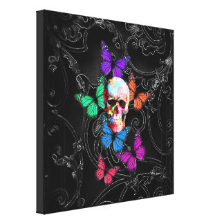 Fantasy skull and colored butterflies gallery wrap canvas