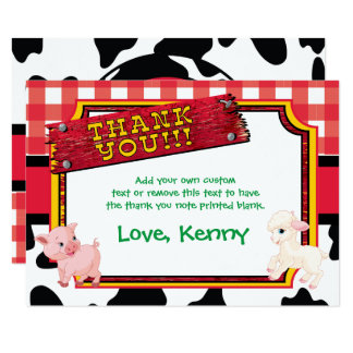 "Farm Animals, Barnyard, Cute Thank You Cards 3.5"" X 5"" Invitation Card"