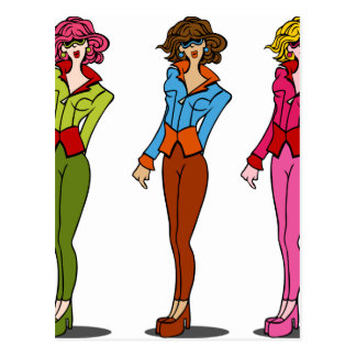 Fashion Model Girls Wearing Sunglasses Postcard