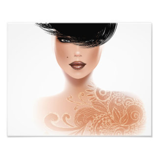 Fashion Model with Tattoo and black hair Photo