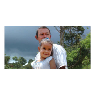 Father Holding daughter in Park Custom Photo Card